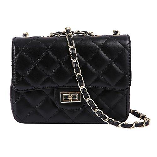 HDE Womens Quilted Crossbody Bag Designer Quality Mini Purse Handbag Metal Chain (Black)