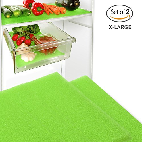 Dualplex Fruit & Veggie Life Extender Liner for Refrigerator Shelves (2 Pack) – Extends the Life of Your Produce & Prevents Spoilage, 15 X 24 Inches (Veggie Life)