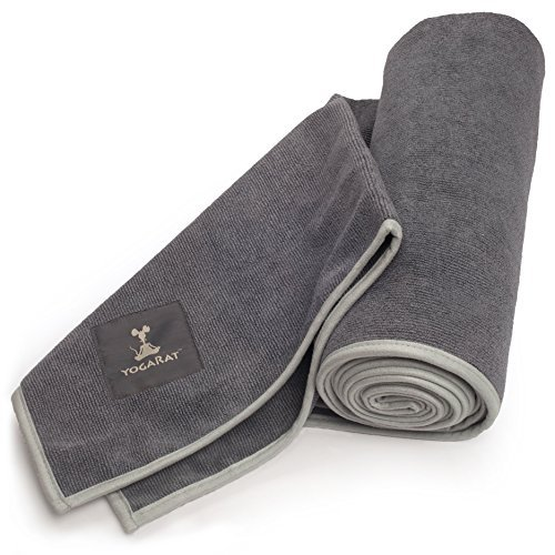 YogaRat HOT YOGA TOWEL: 100% durable, thick, super-absorbent microfiber. Offered in multiple mat-length sizes (26