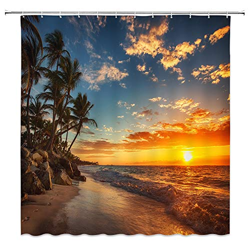 Tropical Decor Collection, Sunset over the Ocean with Tropical Palm Trees Twilight Sundown Scenery Print, Polyester Fabric Bathroom Shower Curtain Set with Hooks, Purple Orange Black