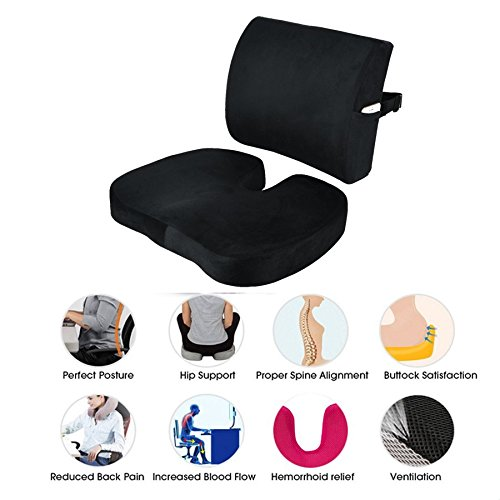 Seat Cushion Coccyx Orthopedic Memory Foam and Lumbar Support Pillow for Office Chair and Car Chair Cushion for Low Back Support, Tailbone Pain, Sciatica Relief Black Qutool by Qutool (Image #6)