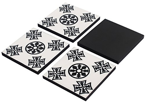 SouvNear Set of 4 Party Cocktail Beverage Coasters for Drinks in Abstract Black & White - Handmade Square Table Top Accessories - Tea Cups Saucers, Perfect Dinnerware