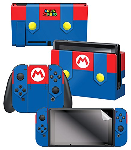 Controller Gear Nintendo Switch Skin & Screen Protector Set - Super Mario - Mario's Outfit - Nintendo Switch 1