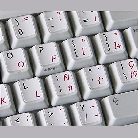 Qwerty Keys Español - Inglés Blanco Pegatinas con Letras en Negro y Rojo Adecuado para Cualquier Teclado