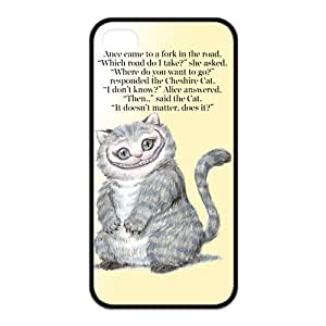 Cheshire cat & Alice's Adventure in Wonderland Classic Customized Rubber Back Case Cover for iPhone 4 4s