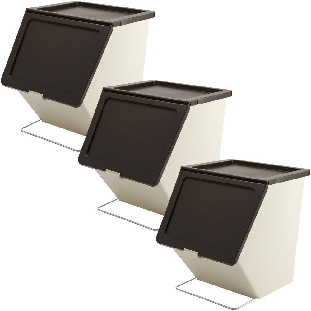 スタックストー ペリカン ガービー 38L 全6色の中から選べる3個セット ゴミ箱 ごみ箱 ダストボックス おしゃれ ふた付き stacksto pelican (ブラウン×ブラウン×ブラウン) B0759HW4Y5 ブラウン×ブラウン×ブラウン ブラウン×ブラウン×ブラウン