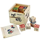 Pindia Non-Toxic 27Pcs Wooden Alphabet Building Blocks With Storage Box For Kids