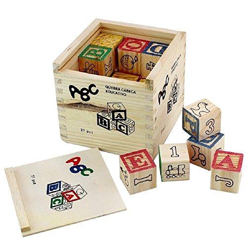 Pindia Non Toxic 27Pcs Wooden Alphabet Building Blocks with Storage Box for Kids