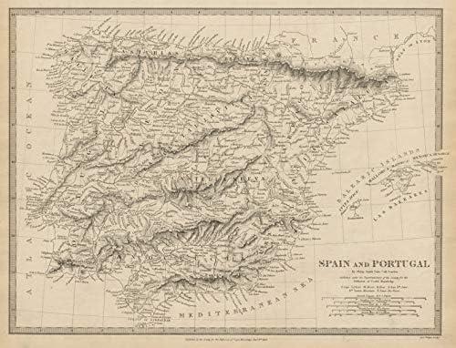 Iberia. España y Portugal. Philip Smith UCL. SDUK – 1844 – Mapa Antiguo Vintage – Mapas Impresos de Iberia: Amazon.es: Hogar