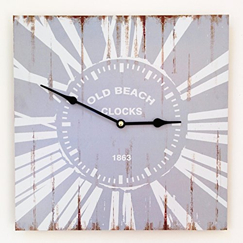 The-Cape-Cod-Old-Beach-Clock-Wall-Clock-13--x-13--34x34cm-Distressed-Gray-and-White-with-Rust-Accent-MDF-Wood-Battery-Operated-By-Whole-House-Worlds