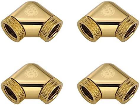 Bitspower G1/4″ Female to Female Extender Fitting, 90° Dual Rotary, True Brass, 4-Pack