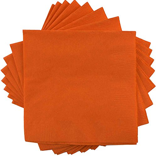 (JAM PAPER Small Beverage Napkins - 5 x 5 - Orange - 50/Pack)