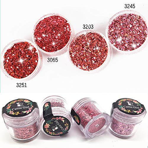 Cattie Girl 4 Box Rose Gold Red Glitter Holographic Laser Powder Ultra Thin 1mm Shining Manicure Nail Glitter Powder