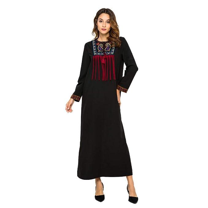 f68911cbd1 Vovotrade Moda Mujer Manga Larga O-Cuello Bordado Borla túnica musulmán  Vestido Largo Suelto Vestido de Manga Larga con Pliegues Bordados  Musulmanes de ...
