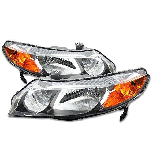 4dr Headlight Headlamp Light - DNA Motoring HL-OH-HC064D-BK-AM Headlight (Driver & Passenger Side)