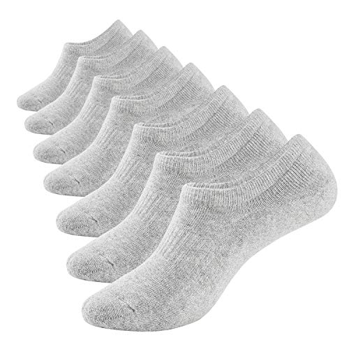 No Show Socks Mens 7 Pack Cotton Thick Cushion Non Slip Low Cut Men Invisible Sock 10-12 (7 grey)