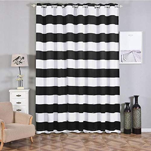 "Efavormart 2 Panels White/Black Cabana Stripe Thermal Insulated Blackout Curtains with Chrome Grommet Window Treatment 52""x108"""