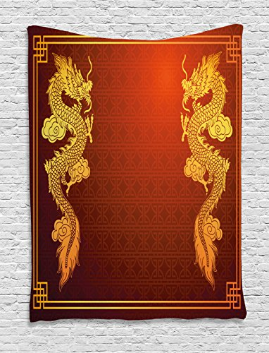 Eastern Tapestry Wall - Ambesonne Dragon Tapestry, Chinese Heritage Historical Eastern Motif with Creature Design, Wall Hanging for Bedroom Living Room Dorm Decor, 40
