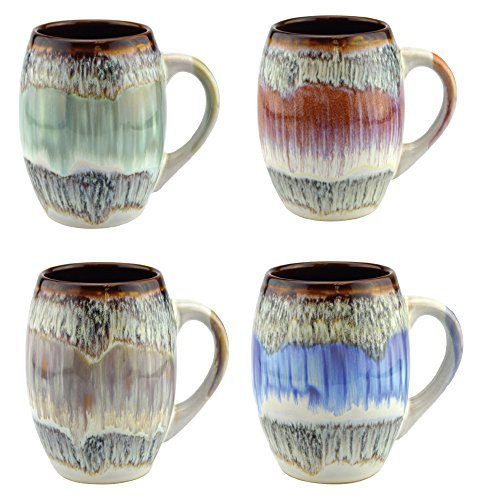 (Mug Glazed Ceramic Coffee and Tea Cup with Handle - Gorgeous Artistic Unique Design Coffee Mugs 20 oz (Set of 4 Assorted Colors))