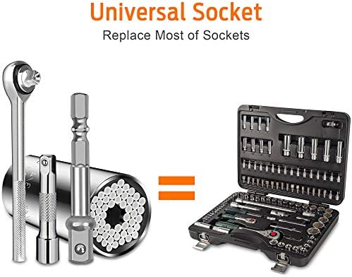 Jetika Universal Socket Tools with Power Drill Adapter, Ratchet Wrench with Extension Fits Standard 1/4'' - 3/4'' Metric (7-19mm), Grip Socket Set, Gifts for Men, Father/Dad, Husband, Women