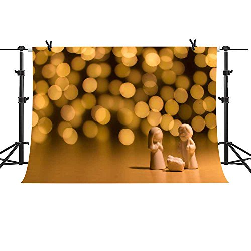 (MME 10x7Ft Yellow Lights Halo Backdrop White Porcelain Decoration Background Praying Props Family Photography Vinyl Studio LUME198)