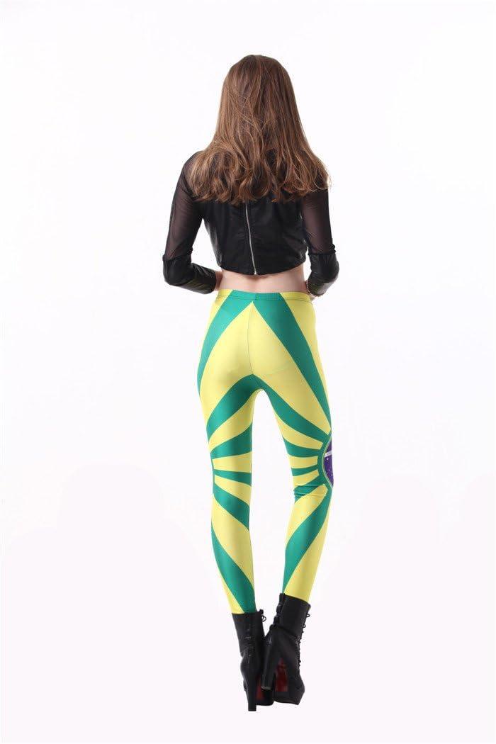 YUJIAKU Pantalon Yoga//Respirant//s/échage Rapide//Exercice Abdominal Running Leggings de Yoga Printemps et Automne Thin Star Digital Print Legging Drapeau br/ésilien