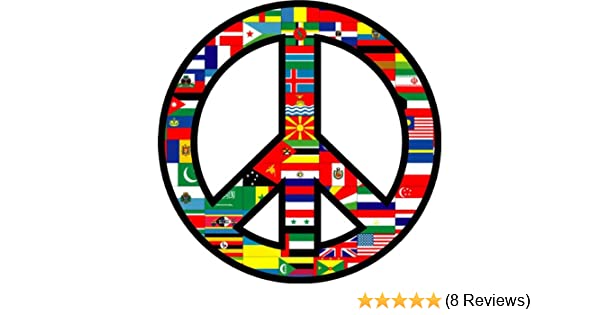 """American Flag Peace Sign Decals Stickers 4/"""" Dia"""