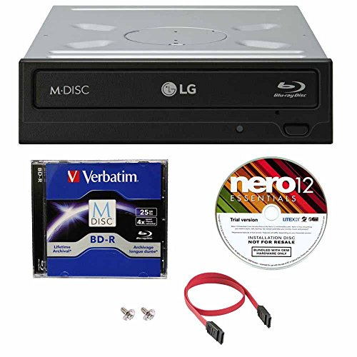 LG WH16NS40 16X Super Multi M-Disc Blu-ray BDXL DVD CD Internal Burner  Writer Drive + FREE 1pk Mdisc BD + Nero Software + Cables & Mounting Screws