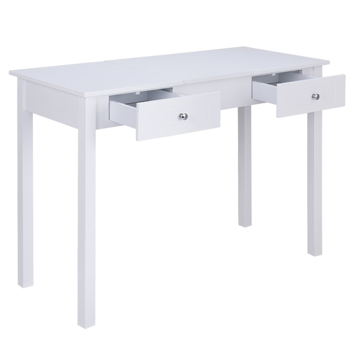 Giantex Vanity Table with Flip Top Mirror with 2 Drawers 1 Removable Organizer Dressing Table Vanity Table, White by Giantex (Image #4)