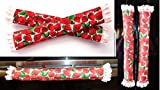 Strawberry Prints Refrigerator Handle Covers with cushiony padding embellished with pretty lace trims