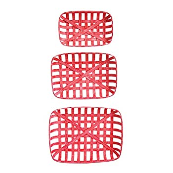 Image of Creative Co-Op Red Reproduction Tobacco Baskets, Set of 3 Craft & Sewing Supplies Storage