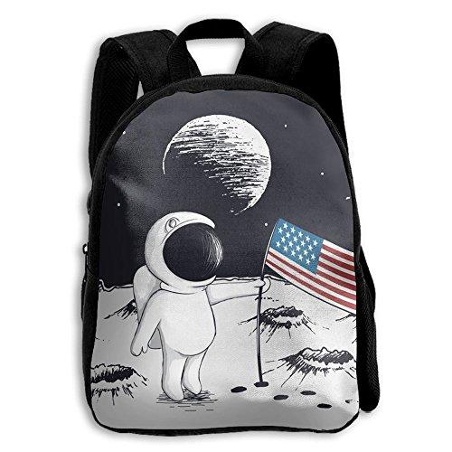 SARA NELL Kids School Backpack Astronaut Keep Usa Flag On Mo