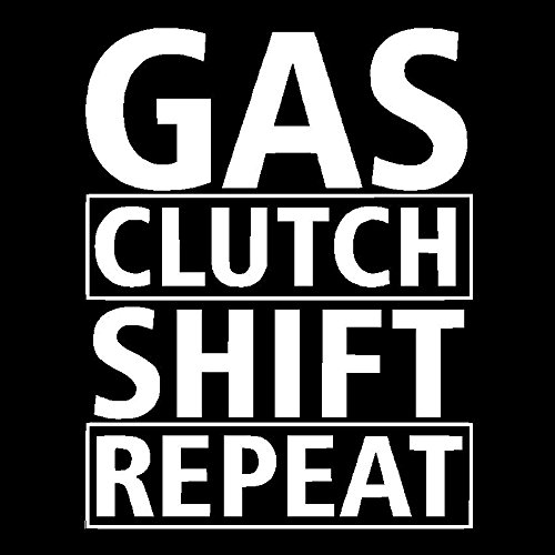 Gas Shift Clutch Repeat Vinyl Decal Car Truck Window Sticker Stick Manual, Die Cut Vinyl Decal for Windows, Cars, Trucks, Tool Boxes, laptops, MacBook - virtually Any Hard, Smooth Surface