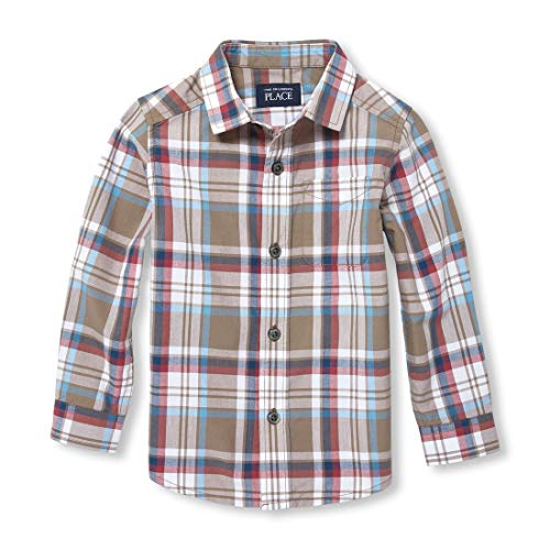The Children's Place Baby Boys Long Sleeve Twill Checkered Woven TOP, Feather 2T ()