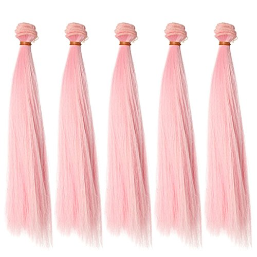 Babe Wig - 5pcs/lot 25cm Long Straight Babe Pink Heat Resistant Hair Pieces for Making BJD Blythe Pullip Doll's Wig