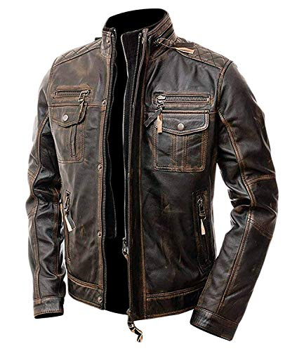 - Slim Fit Vintage Classic Cafe Racer Motorcycle Biker Leather Jacket (Small, Brown)