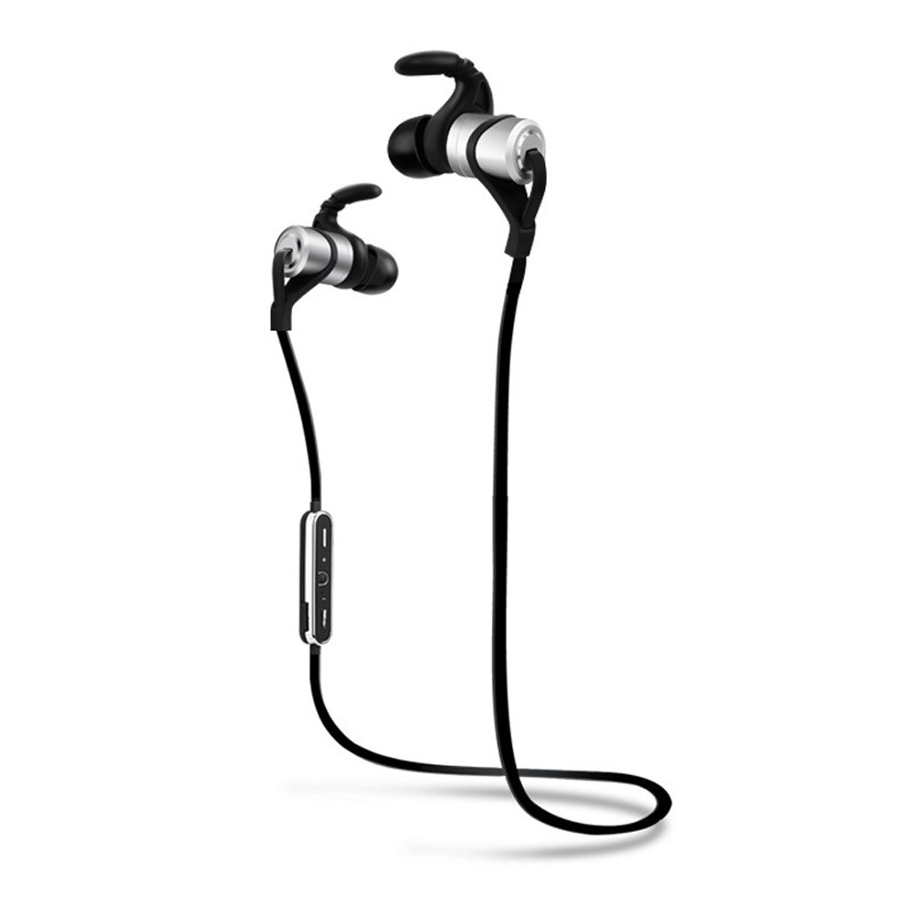 Wiw Bluetooth Earbuds Wireless 4.1 in Ear Stereo Earphones Secure Fit for Sports with Built in Mic Silver White