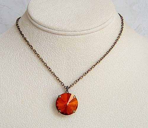 Beautiful Burnt Orange Round 18MM Crystal 24 Inch Necklace Made With Swarovski Gift Idea BA