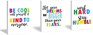 Inspirational Typography Quotes Art Print Work Hard Stay Humble Phrases Painting Set of 3 Pieces (11.8x15.6inch) Canvas Colorful lettering Poster With Framed Ready to Hang for Classroom Kids Room