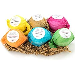 Anjou Bath Bombs Gift Set, 6 x 3.5 Oz Colorless Bath Bombs Kit, Best for Aromatherapy, Relaxation, Moisturizing with Organic & All Natural lush Essential Oils, Jojoba Oil, Shea Butter