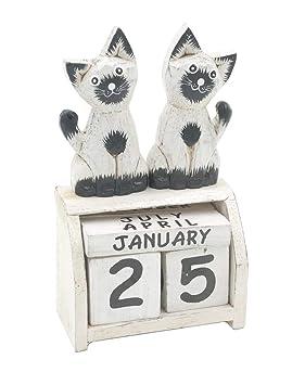 Blanco de gatos bloque perpetuo escritorio calendario: Amazon.es: Oficina y papelería