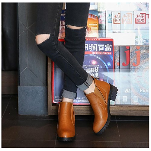 New Fashion Womens Winter Ankle Boots Low Heels Boots Shoes By LuckyBB Brown b7fLn