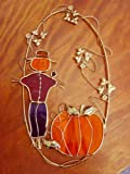 Stained Glass Scarecrow and Pumpkin on Metal Ring