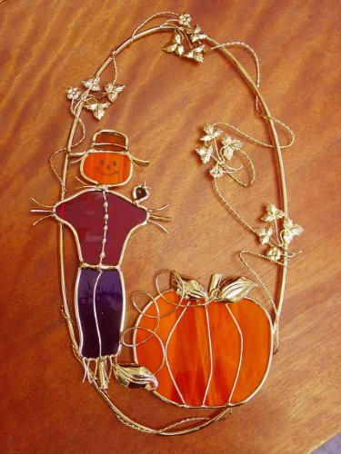Metal Scarecrow - Stained Glass Scarecrow and Pumpkin on Metal Ring