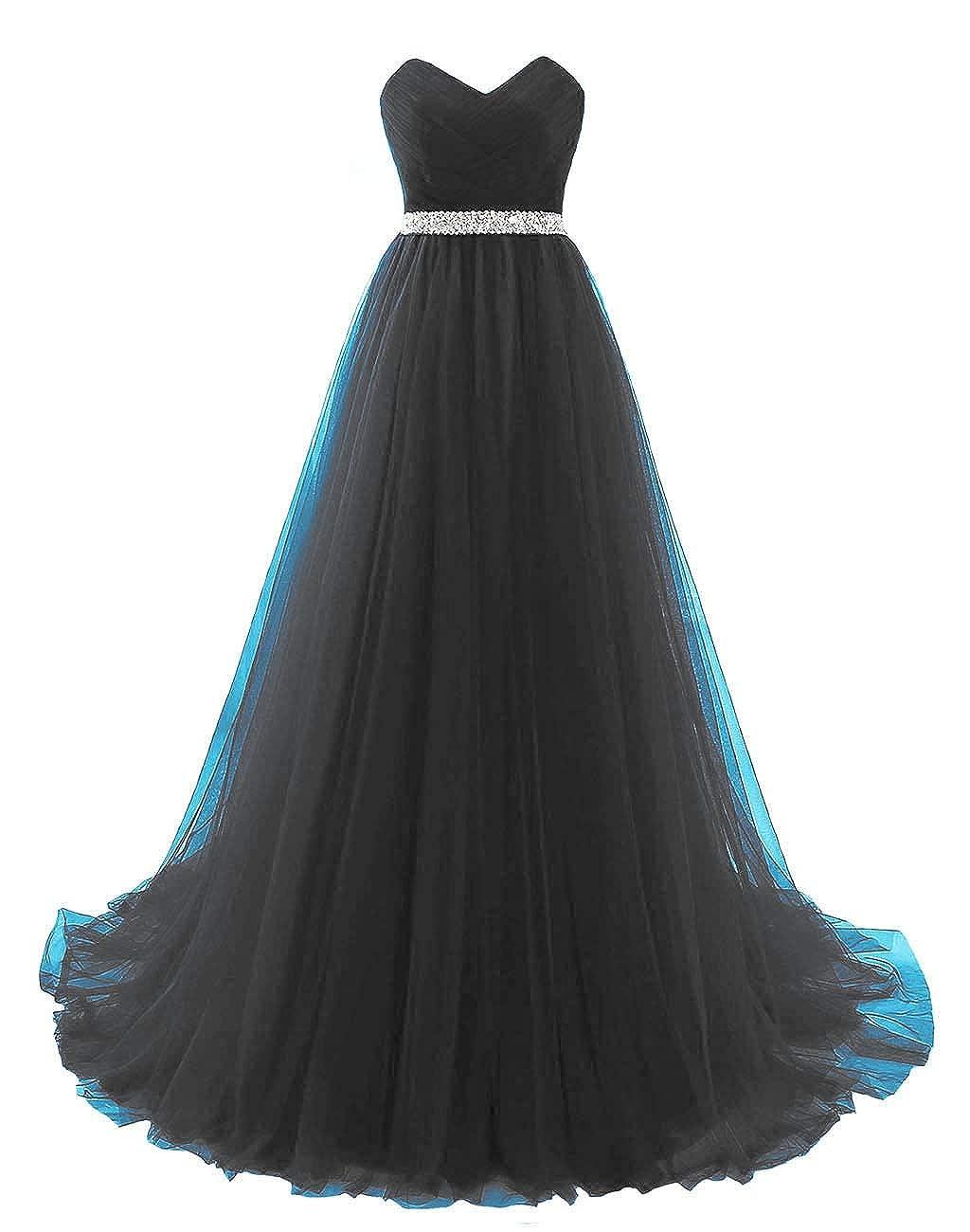 Black Vantexi Women's Sweetheart Beaded Belt Tulle Evening Prom Dresses