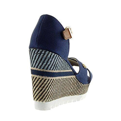 Mule Jane Mary Basket Bleu CM 10 Talon Plateforme Semelle 5 Sandale Lanière Brodé Tréssé Compensé Mode Angkorly Femme Chaussure Plateforme x8YwgtX