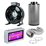 BloomGrow Full Spectrum LED + Inline Duct Flange Carbon Air Filter High CFM Inline Exhausting Fan Combo for Plant Growing (LED300W+4'' Fan Filter Combo)