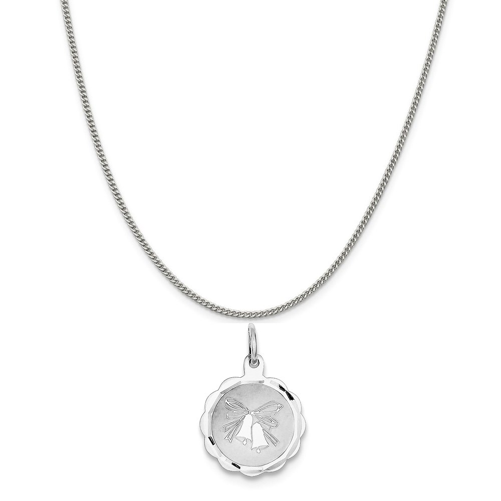 Mireval Sterling Silver Wedding Bells Disc Charm on a Sterling Silver Chain Necklace 16-20