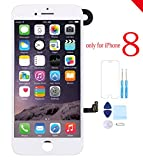 for iPhone 8 Screen Replacement Full Assembly LCD Touch Screen Digitizer Display with Front Camera Facing Proximity Sensor, Ear Speaker, Repair Tools and Screen Protector White