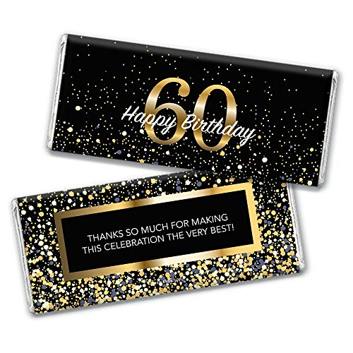 Milestone 60th Birthday Favors Chocolate Bar Wrappers (24 Count)